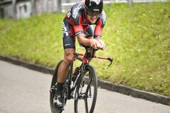 Free Bicyclist In Competition Of Tour De France 2015 Which Was Held In Switzerland Royalty Free Stock Photography - 175118457