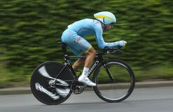 Free Bicyclist In Competition Of Tour De France 2015 Which Was Held In Switzerland Stock Images - 175118544