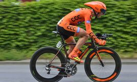 Free Bicyclist In Competition Of Tour De France 2015 Which Was Held In Switzerland Royalty Free Stock Image - 175121926