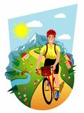 Bicyclist on mountain road Royalty Free Stock Image