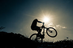 Bicyclist in the mountains Stock Image