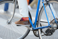 Bicyclist on nice bike. Close up of bike and bicyclist Stock Photo