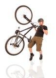 Bicyclist no branco. Imagens de Stock Royalty Free