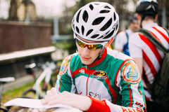 Bicyclist at opening of the cycling season in the city in Gomel, Royalty Free Stock Images