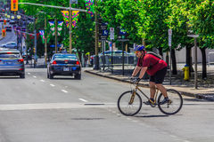 A bicyclist in Ottawa Royalty Free Stock Photography