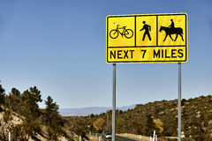 Bicyclist, Pedestrian and Equestrian Road Sign Stock Images