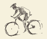 Bicyclist rider man bike vector hand drawn sketch Stock Photos