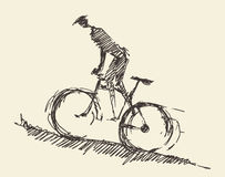 Bicyclist rider man bike vector hand drawn sketch Royalty Free Stock Image