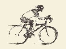 Bicyclist rider man bike vector hand drawn sketch Stock Images