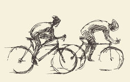 Bicyclist rider mans bike vector hand drawn sketch Stock Images