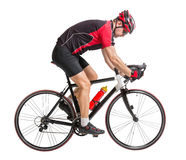 Bicyclist riding a bicycle. Isolated on white background stock photo