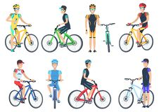 Bicyclist Riding on Bike, Standing Near Bicyclet. Man in helmets and caps set of vector illustrations isolated on white background Stock Photography