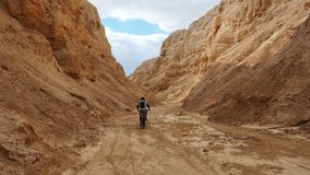 Bicyclist Riding in the Negev Desert