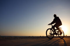 Bicyclist silhouette Royalty Free Stock Images