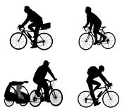 Bicyclist silhouettes Royalty Free Stock Photo