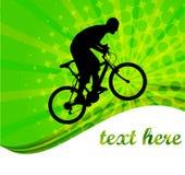Bicyclist sui precedenti astratti Fotografia Stock