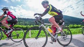 Bicyclist sygnalizuje inny konkurenta zwolnione tempo zbiory