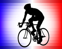 Bicyclist  on the tricolor background Royalty Free Stock Image