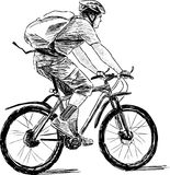 Bicyclist. Vector drawing of a man riding a cycle Stock Photography