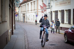 Bicyclist in Vilnius Stock Photos