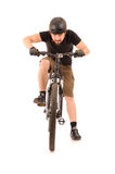 Bicyclist on white Stock Photos
