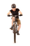 The bicyclist on white. The bicyclist isolated on white, studio shot Stock Photo