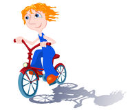 Bicyclist on white. The boy goes on a bicycle. Vector illustration Stock Image