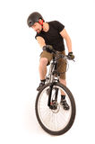 The bicyclist on white Royalty Free Stock Image