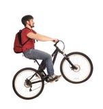 Bicyclist on white. Stock Photos