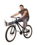 Bicyclist on white. Royalty Free Stock Photos