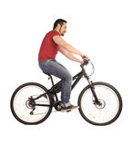 Bicyclist on white. The bicyclist isolated on white, studio shot Royalty Free Stock Images