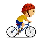 Bicyclist in yellow shirt Stock Images