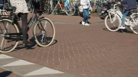 Bicyclists κυκλοφορίας στη στενή οδό του Άμστερνταμ Πολλοί ποδήλατα και πεζοί είναι φιλικοί προς το περιβάλλον απόθεμα βίντεο