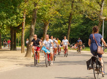 Bicyclists in Amsterdam. Stock Images