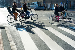 Bicyclists Amsterdam Royalty Free Stock Photos