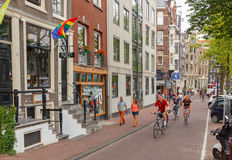 Bicyclists in Amsterdam Royalty Free Stock Photos
