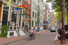 Bicyclists in Amsterdam Stock Image