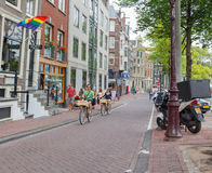 Bicyclists in Amsterdam Royalty Free Stock Image