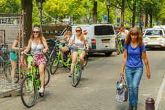 Bicyclists in Amsterdam Royalty Free Stock Images