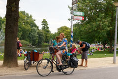 Bicyclists in Amsterdam. Royalty Free Stock Image