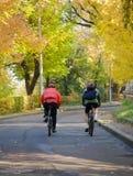 Bicyclists di autunno Fotografia Stock Libera da Diritti