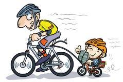 Bicyclists do pai e do filho dos desenhos animados. Fotografia de Stock