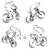 Bicyclists outline Stock Photos
