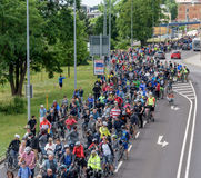 Bicyclists` parade in Magdeburg, Germany am 17.06.2017. Waiting of start. Bicyclists` parade in Magdeburg, Germany am 17.06.2017. Day of action. Many people ride Stock Photos