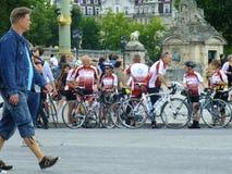 Bicyclists at Paris Stock Photography