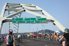 Bicyclists przejęcie Portland Obrazy Royalty Free