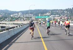Bicyclists przejęcie Portland Zdjęcie Royalty Free