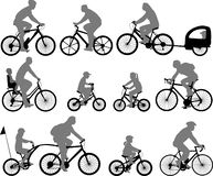 Bicyclists silhouettes collection royalty free illustration