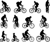 Bicyclists silhouettes collection vector illustration