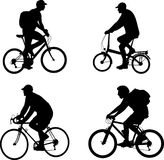 Bicyclists silhouettes set Stock Images